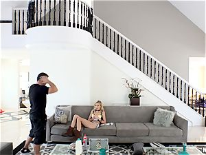 insatiable Alexa grace gets her minge plunged after getting caught in Chads palace