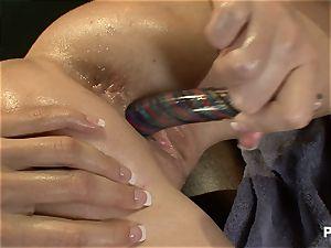 fabulous black-haired seducing her masseuse