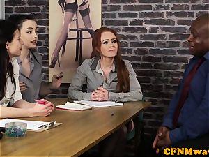 casting CFNM lady agent masturbating black fuckpole