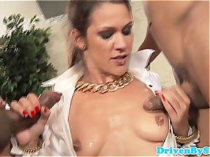 enticing Samia Duarte takes on 2 gigantic penises