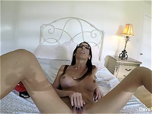 huge-chested brunette Dava's home movie onanism
