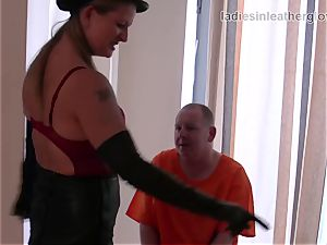 Smoking leather clothed female domination in gloves fetish domination