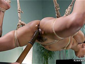 furry ebony smacked in suspension lesbian domination