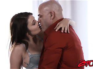 Stepdaughter Adria Rae nailed and tonguing jizz flow