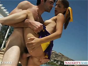 super hot cheerleader Presley Hart plow outdoors