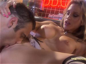 tatted stunner Sarah Jessie is pounded in a diner