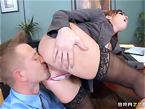 ginger-haired boss Britney Amber pulverizes a kinky worker