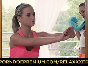 RELAXXXED lesbian Amirah Adara drilled on yoga class