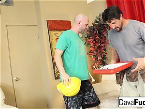Dava and Ava shag their handymen