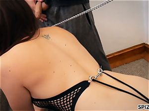 Spizoo-Pet honey Chanel Preston is punished by two spunk-pumps