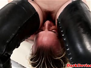 huge-chested female domination pegs gimp before edging hand job