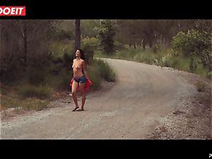 LETSDOEIT - kinky dark-haired Caught Running in the forest