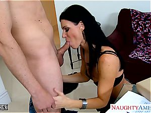 impressive India Summer in tights sucks sausage