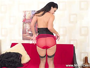 buxom black-haired wanks in sheer RHT nylons red high-heeled shoes