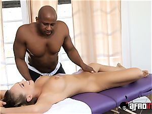 warm ash-blonde Kagney Linn Karter handled by big black cock massagist