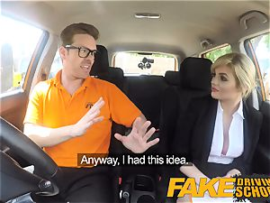 fake Driving school Posh naughty busty examiner