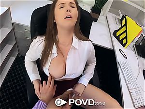 gorgeous secretary deep throats and plows for a promotion