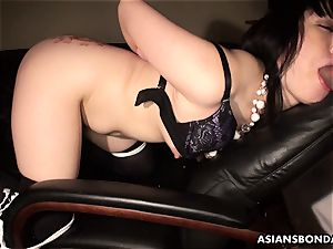 Pouring scorching candle and lubricant on her bum as shes fucked