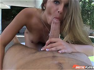 sloppy blondie Jillian Janson twat plucked on massage table outdoors