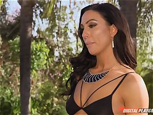 stud suspicious of his housewife Tiffany Brookes cuckold with the pool man