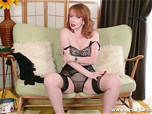 big-chested crimson finger pulverizes gash in garter nylons and pumps