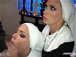 2 buxomy chaste nuns Jessica Jaymes & Nikki Benz take their abbot stiff man meat
