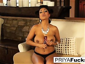 Indian mummy Priya taunts then pleases her splendid humid fuckhole
