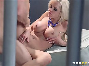 Nina Elle plows a sexy con in front of her cuckold spouse