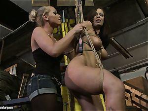 Kathia Nobili spanking the booty of warm dame with whip