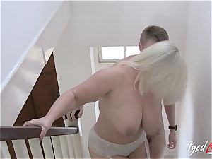 AgedLovE huge-chested Lacey Starr hardcore and suck off