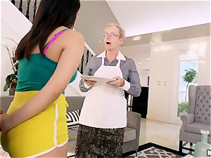 Valentina Nappi hammered in her minge with her granny sleeping in the apartment