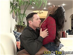 dark-hued teenager rides stepdad