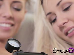 strap dildo gash Pump and cable on with Tracy and Gina