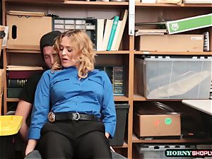 Krissy Lynn searches dangled shoplifter and rails his pipe