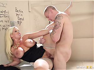 Alura Jenson fucks a fellow in the cinema wc