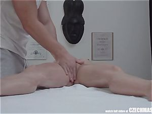 buxom light-haired rides massagist