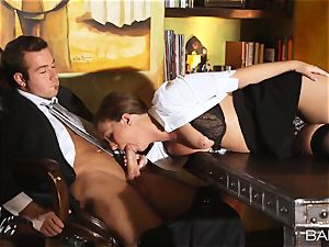 Maddy OReilly is plumbed over the desk by the chief