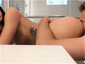 kinky black-haired Sabrina Banks screwed in her vulva pie