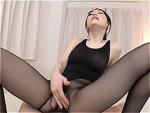 smallish asian ultra-cutie gets her minge penetrated thru her pantyhose