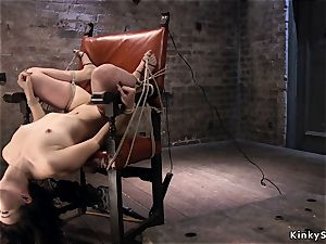 tied like a hog asian in rope suspension upside down