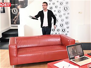 chesty ash-blonde squirts all Over The audition couch