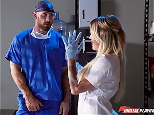 expert doctor pummels sex-positive chesty nurse Kissa Sins on a clinic bed