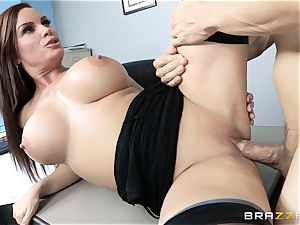 stunning assistant Diamond Foxxx takes the chief on the desk