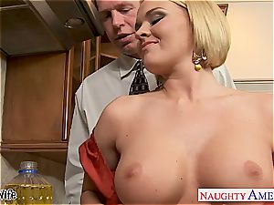 chesty wife Krissy Lynn eating jism in the kitchen