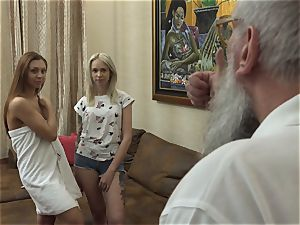 platinum-blonde and brown-haired teens In elder stud three way fuck-a-thon