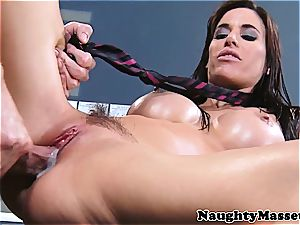 stunner with glossy fun bags gets a internal cumshot