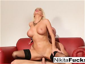 Russian cougar Nikita takes a immense beef whistle