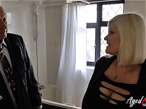 AgedLovE Mature nymph Lacey Starr deep-throating stiff man meat
