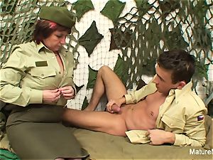 Military granny tears up him in the barracks