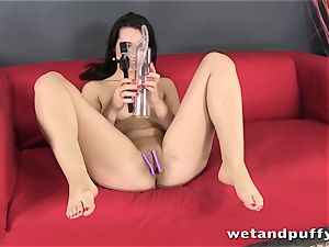 lovely dark haired superslut Carrie May in a solo sequence
